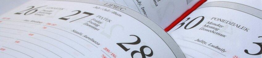 Kartka kalendarza z imionami